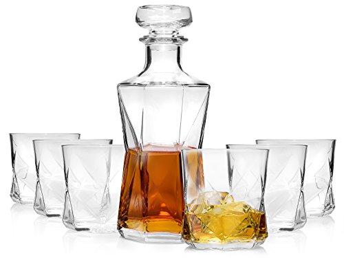 Bormioli Whisky Karaffe mit Gläsern 7 teilig | Whisky Set im modernen Design für Stilbewusste...