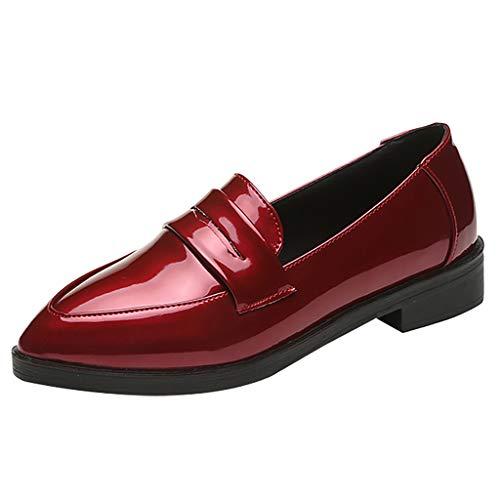 Damen Closed Ballerinas Moccasin Leder Loafers Ballet Flats Fahren Schuhe Neue Art- und Weisefrauen-feste flache spitze Zehe-niedrige Quadrat-Fersen-beiläufige Partei-Schuhe -
