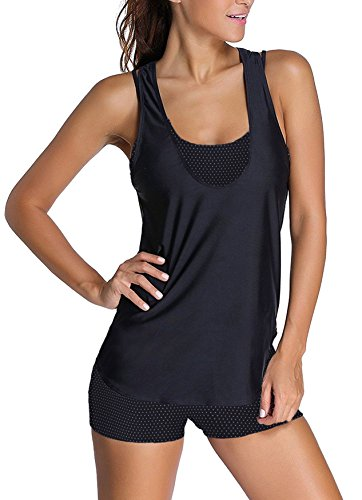 3 tlg. Damen Push up Tankini - Bikini Set mit Shirt Top Hotpants -Ideal für Strand Sport Yoga Fitness verschiedene Farben Größen f5405 3tlg. Set Marine / White Points / Black U (1090)