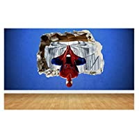 Thorpe Signs Spider man 3D Effect Smashed Wall Sticker, Marvel style transfer art Spiderman (Large: 68cm x 58cm)