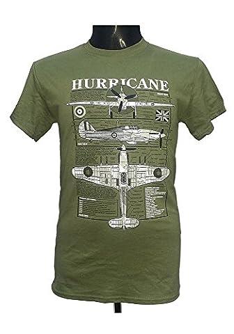 Hawker Hurricane-Avion de Chasse-British aéronefs militaires T-Shirt avec motif bleu nuit - Vert - Large