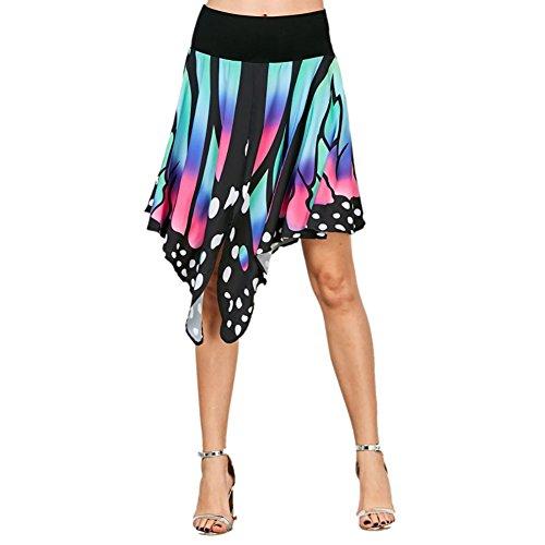 iShine Faltenrock Damen Knielang A-Linie Rock V-Ausschnitt Shirtkleid mit Schmetterlings Kleid Asymmetrie Minikleid für damen Partykleid Blau