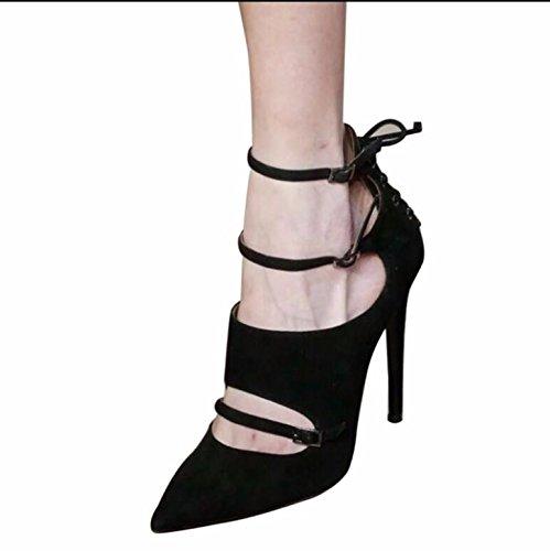 KHSKX-Punta Del High-Heel Belle Scarpe Con Fascetta Di Fissaggio Nera Cattura Esposta Solo Scarpe Femmina Maree 39 34