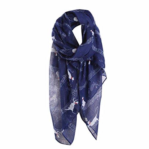 ❤️• •❤️ LUCKYCAT Frauen Damen Musiknote Katze Drucken Muster Langen Schal Warme Wrap Schal (F)