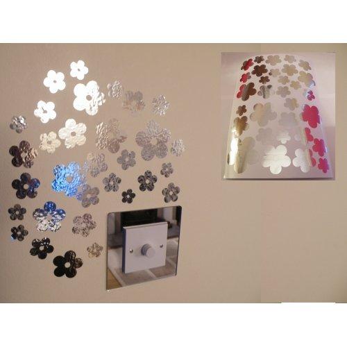 Spiegel- Blumen -Wand-Aufkleber 1 Blatt A4