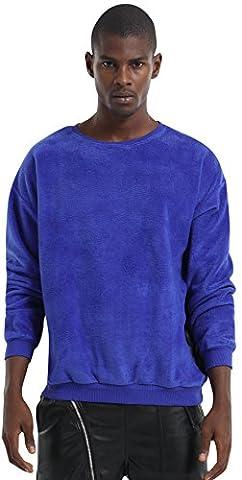 Pizoff Unisex Hip Hop Urban Basic Sweat-shirts en velours à épaules tombantes Y1537-Blue-L