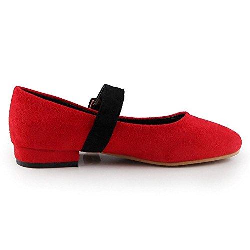 COOLCEPT Femmes Confortableable Bloc Talon Bas Non Slip Court Chaussures Mary Jane Chaussures Rouge