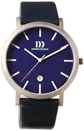 Danish Design Mens Quartz Watch with Blue Dial Analogue Display and Leather Strap DZ120439