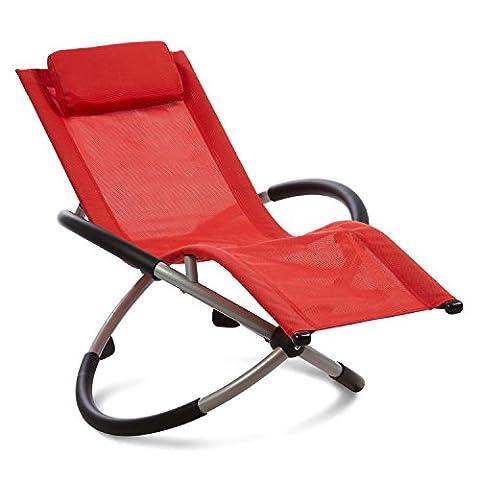 Blumfeldt Chilly Willy - Chaise longue pour enfant, transat fauteuil avec accoudoirs et effet bascule (construction acier stable, coussin repose-tête inclus, revêtement lavable) - rouge
