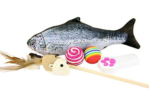 Reizendes Katzen-Spielzeug 5er Set. Verschiedene interaktive Kätzchen-Spielwaren mit Katzen-Teaser-Stab, Katzenminze-Fischen, Sisal-Seil-Ball, Regenbogen-Ball, LED-Tatzen-Lichtzeiger Katzenspielzeug