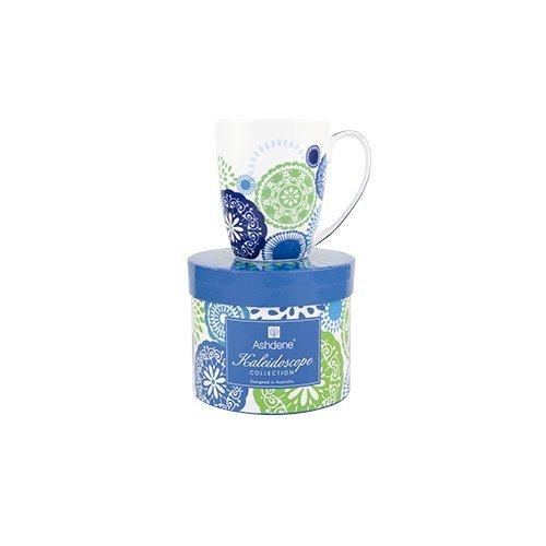 Ashdene Kaleidoscope - blue - Fine Bone China Cup Mug Porzellantasse Tasse Becher tazza taza 10,5cm 350ml, Gift box, best quality, ASHDENE, Australia (Blue Bone Fine China)