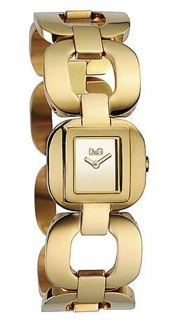 D&G Dolce&Gabbana DW0712 – Reloj analógico de mujer de cuarzo con correa de acero inoxidable dorada