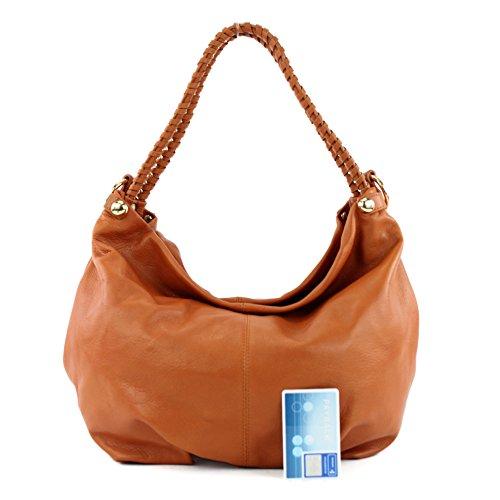 modamoda de - ital. Ledertasche Damentasche Schultertasche Damenhandtasche Nappaleder T62 Orangebraun