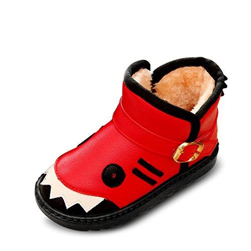 Fortuning's JDS Enfants Unisexe Imperméable PU Bottes de neige Hiver Chaud Chaussures Mignonne Requin Court Rouge