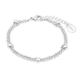 s.Oliver Damen-Armband aus Edelstahl, längenverstellbar (16+4 cm)