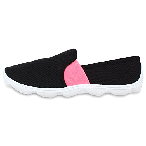 Damen Neon Slip-ons Profilsohle Slipper Flache Sneakers Schwarz
