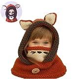 Netter Fox-Hut-Schal/Tücher Maske Earflap Set Wolle gestrickte Häkeln Coif mit Kapuze Schal Ohr Nackenwärmer Mützen Kappe für 2-6 Jahre Kinder (rot und Short)