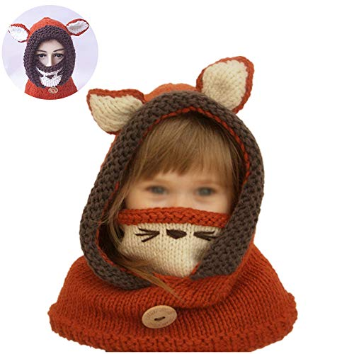 Netter Fox-Hut-Schal / Tücher Maske Earflap Set Wolle Gestrickte Häkeln Coif mit Kapuze Schal Ohr Nackenwärmer Mützen Kappe für 2-6 Jahre Kinder (rot und ()