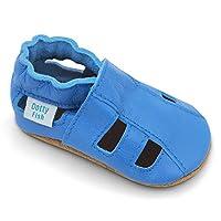 Dotty Fish zachte lederen baby sandalen met suede zolen. Peuter sandalen. Jongens en meisjes. Lichtblauw. 12-18 maanden (21 EU)
