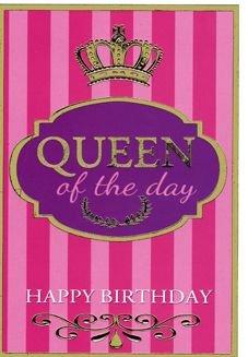 Karte Geburtstag Motiv Queen of the day Krone Hintergrund Streifen rosa auf festem Papier geprägte Elemente Glanz, Verpackungseinheit: 12 Stück