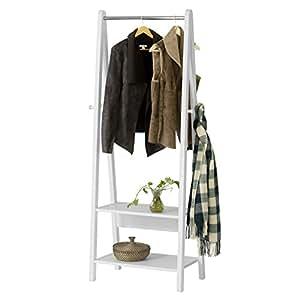 sobuy frg59 w porte v tement en bois penderie v tement porte manteau avec deux tag res. Black Bedroom Furniture Sets. Home Design Ideas