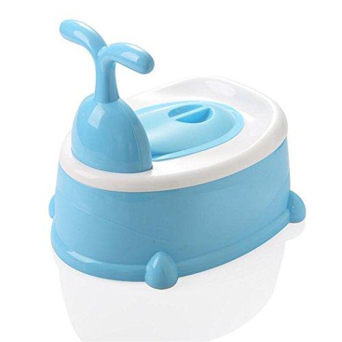LIXIGA Baby Töpfchen Hohe Rückenlehne Potty Stuhl 3-in-1-Training Toilette Töpfchen Sitz Stufenhocker Kleinkind-Training WC-Trainer Sitz mit Spritzschutz und Griffe (Farbe : Blau) (Töpfchen Stuhl Griffe)