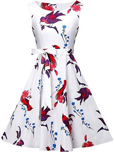Feenpaar 50er Jahre Vintage Retro Floral Cocktail Swing Party Kleid mit Schleife - - Groß