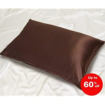 100% Charmeuse Silk Pillowcase (CHOCOLATE) 50 cm x 75 cm - RRP £35