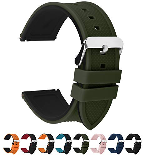 10 colori per cinturino 18mm 20mm 22mm 24mm in silicone a sgancio rapido, fullmosa cinturino in caucciù con fibbia in acciaio inossidabile,per uomo e donna,22mm verde militare superiore/nero inferiore
