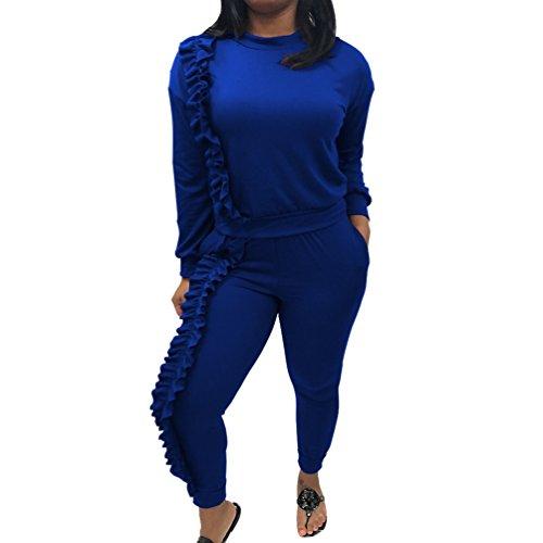 YiLianDa 2Pcs Damen Jogginganzug Langarm Anzug Pullover Sportanzug Trainingsanzug Sweatshirt Anzug Mit Hose
