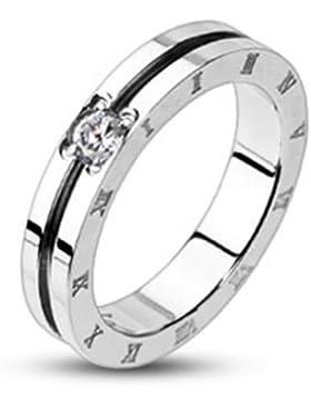 Paula & Fritz® Ring aus Edelstahl Chirurgenstahl 316L kreisrund römische Zahlen und 1 Zirkonia verfügbare Ringgrößen...