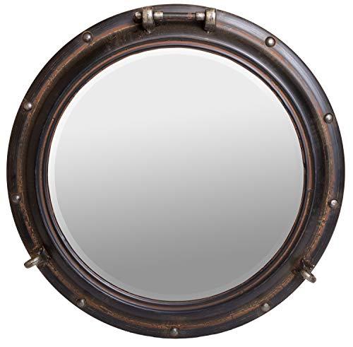 R.E.D Waterside Nautisches Bullauge Spiegel, rund, Metall Wand Décor, Rost-Finish, 55,9cm -