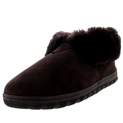 Polar Herren Pelz Gefüttert Echten Australischen Schaffell Pelz Manschette Stiefel Pantoffeln - Braun - UK11/EU45 - YC0454 (Manschette Wildleder-boot)