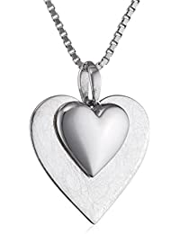 Elements Sterling Silver P2807 Ladies' Polished Silver Heart Pendant on Chain jiZaQXoDW