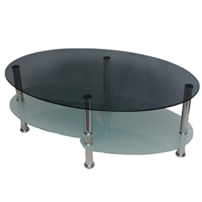 Glass coffee table with an oval shape with 8 mm tempered smoked safety glass - low-cost UK light shop.