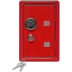 Hucha infantil baúl fuerte contraseña Mini caja fuerte de Metal rectangular con la hucha principal rojo rojo