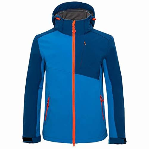 BBring Herren Regenjacke Groß Größe Stehkragen Kapuze Wasserdicht Winddicht Windbreaker Outwear Patchwork Sweatjacke (XL, Blau)