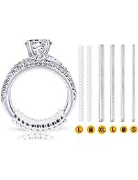 Ajustador invisible del tamaño del anillo para anillos sueltos - Ring Guard, Ring Sizer, 4 tamaños que se ajustan a casi cualquier anillo. [Paquete de 12]