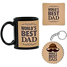 Giftsmate Worlds Best Dad Ceramic Coffee Mug with Coaster and Keychain(Black) - Set of 3