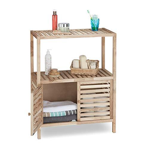 Relaxdays 10021085_348 mobile scaffale per bagno, cucina, legno noce, 2 ante, hxlxp 86x68x36 cm, marrone chiaro