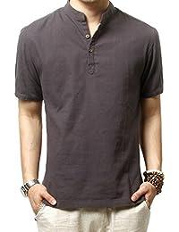 Chemises de lin Slim Fit chemises Beach HOEREV hommes Casual manches courtes