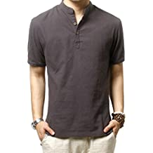 Camisas de lino Slim Fit camisas playa HOEREV hombres manga corta Casual