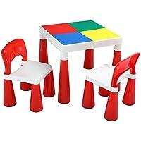 LibertyHouseToys 598 2 in 1 Building Block Tisch/Stühlen, Plastik, rot/weiß, 50,8 x 50,8 x 45,5 cm preisvergleich bei kinderzimmerdekopreise.eu