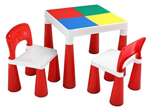 Liberty House Toys 598 2 in 1 Building Block Tisch / Stühlen, Plastik, rot / weiß, 50,8 x 50,8 x 45,5 cm