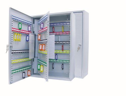 *Wedo 10265037X Schlüsselschrank (für 150 Haken, pulverbeschichtetes Stahlblech 38 x 14 x 55 cm, Sicherheitsschloss inklusive 2 Schlüssel, Hakenleiste individuell verstellbar) lichtgrau*