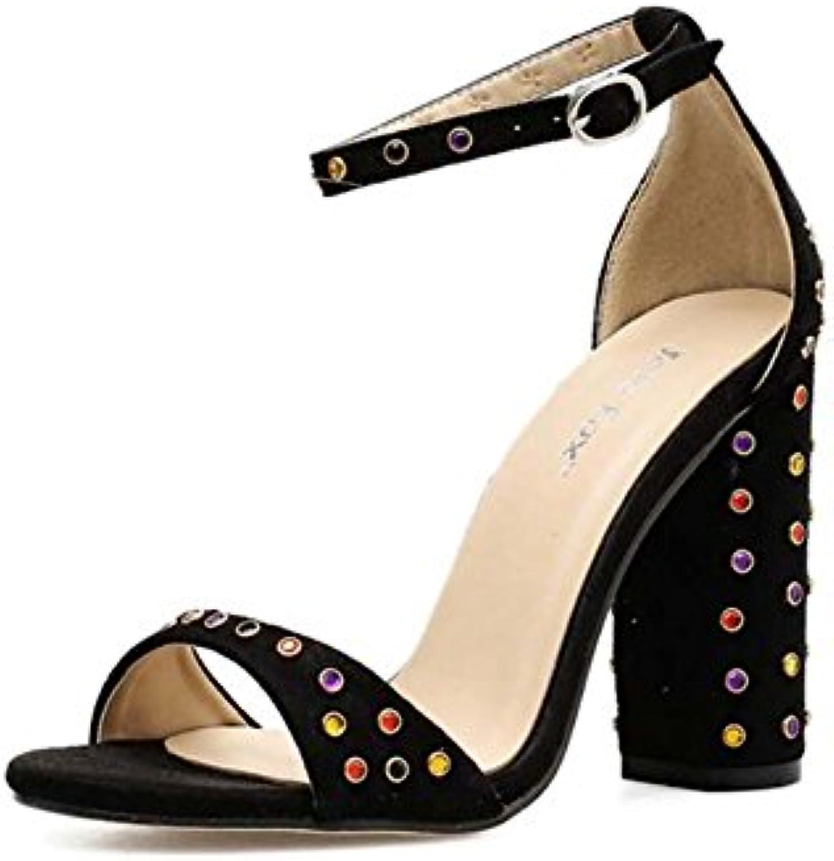les sandales de 10 cm de de de talon cheville pompe chunkly chaussures en daim couleur des rivets bout ouvert d'orsay strass, ceinture...b07d789wwg parent   Impeccable  b48546