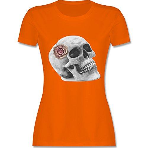 Rockabilly - Totenkopf Rose Vintage Skull - tailliertes Premium T-Shirt mit Rundhalsausschnitt für Damen Orange