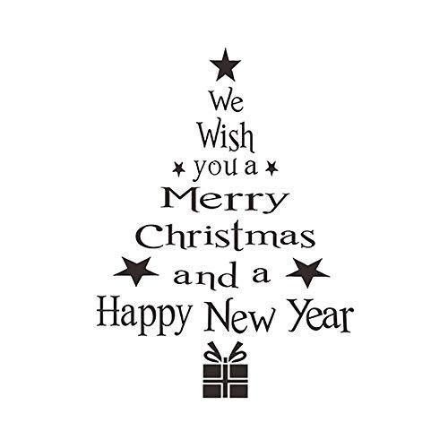 MAYOGO Weihnachten Englisches Alphabet Wandaufkleber Aufkleber-We Wish You a Merry Christmas and a Happy Newyear - Vintage Herren Schlafanzug Licht