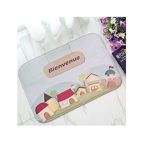 hysxm Willkommen Sprache Fußmatte Französisch Cartoon Matte Küche Badezimmer Eingang Tür Matten Wasserdicht Rutschfeste Matte, 40X60 cm (Tür-willkommen-matte Französisch)
