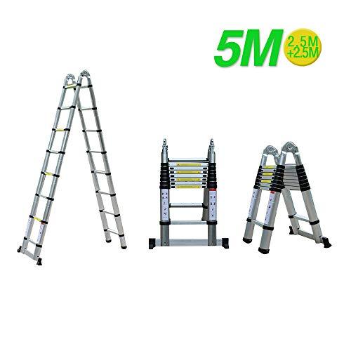 MOMOJA Escalera Telescópica de Aluminio 5M Escalera Alta Multifuncional Carga 150 KG